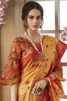 Buy pastel orange matka silk saree with silk blouse online - sarv andaaz fashion Cotton Saree Blouse Designs, Fancy Blouse Designs, Pattern Blouses For Sarees, Latest Saree Blouse Designs, Churidar, Salwar Kameez, Anarkali, Sleeves Designs For Dresses, Sleeve Designs