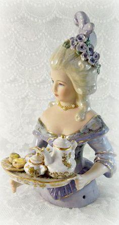 Vintage half doll with tea ~Debbie Orcutt ❤