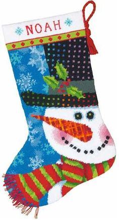 Patterned Snowman Stocking Needlepoint stocking kit. It uses wool also instead of floss.