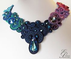Mystical midnight pendant, Soutache Jewelry, Soutache Jewelry with Swarovski Elements, fuchsia, bermuda blue Embroidery Jewelry, Beaded Embroidery, Beaded Jewelry, Handmade Jewelry, Soutache Necklace, Fabric Yarn, Fuchsia, Shibori, Bead Art