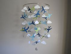 Airplanes & Clouds Mobile // Nursery Mobile // by LittleDropsOfSun, $42.00