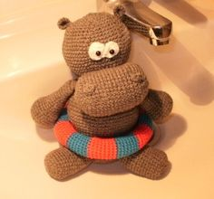 """PDF, crochet pattern """"Non-swimmer Nobbi"""". hippo  Available in GERMAN or ENGLISH language!        The crochet pattern consists of 10 pages with a lot of images for easy reworking of the hippo.    Also for beginners!"""
