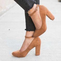 Cute Round Toe Block Heels