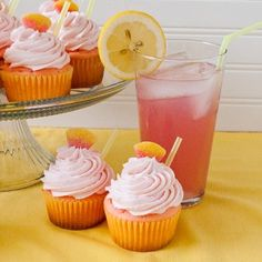 Pink Lemonade Cupcakes    Cake:    1 package white cake mix  1 small package vanilla instant pudding  3 Tbsp sweetened pink lemonade drink mix (like Country Time Pink Lemonade mix)  1 cup sour cream  2 tsp lemon zest  3/4 cup water  3/4 cup oil  4 whites eggs (save the yolks for tomorrows recipe)  6 drops of pink food coloring  Frosting:    1 cup butter, softened  1 cup shortening  1/2 cup frozen pink lemonade concentrate, thawed  2 tablespoons milk  2 teaspoons vanilla  Zest from 1 lemon  2 pound package  or 7 1...