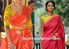 floral_print_blouse_with_silk_kanjeevaram_saree