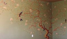 Intricate bird and branch mural