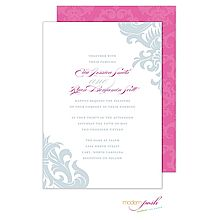 Damask Wedding Invitation in white and gray with pink