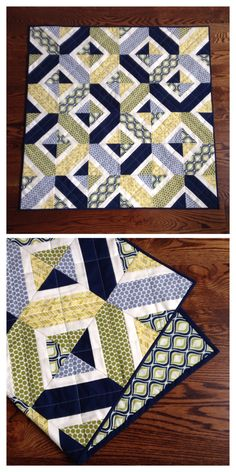 Baby Boy Quilt. Navy blue, greens, and grey.
