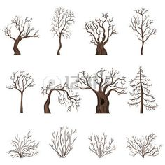 Vector Set of Silhouettes of Bare Trees and Bushes royalty-free stock vector art Silhouette Painting, Tree Silhouette, Painted Rocks, Hand Painted, Flora Design, Bare Tree, Watercolor Trees, Christmas Paintings, Watercolour Tutorials