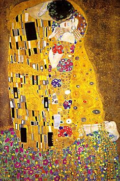 The Kiss, Gustav Klimt #art #painting #golden #dazzling #beauty #beautiful #embrace #embracing #kissing #rainbows #colors #lovers #romance #romantic