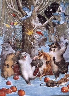 Philip Vinton Clayton - Christmas in the Woods. These woodland creatures dancing with abandon in a snowy forest is a magazine illustration circa 1920.