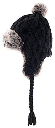 Aran Traditions Knited Faux Fur Winter Warm Black Trapper Hat: Amazon.co.uk: Clothing
