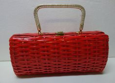 50s RED WICKER Handbag Purse Clutch by Vintageables on Etsy