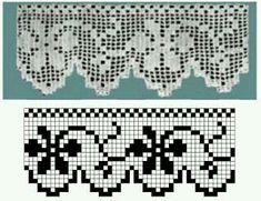 Crochet Border Patterns, Crochet Boarders, Fair Isle Knitting Patterns, Crochet Lace Edging, Knitting Charts, Crochet Designs, Crochet Doilies, Filet Crochet Charts, Crochet Diagram