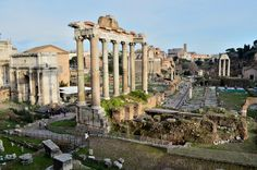 Roman Forum |The Temple of Saturn, estimated date of construction 497 BC. The temple was completely reconstructed by Munatius Plancus in 42 BC. Roman Forum, Roman Architecture, Ancient Romans, Roman Empire, Rome, Temple, Construction, Mansions, Antique