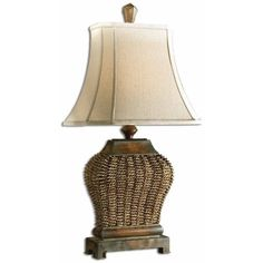 Uttermost Augustine Table Lamp ($161) ❤ liked on Polyvore featuring home, lighting, table lamps, brown frame, uttermost lamps, fabric shade, rectangular shades, uttermost lighting and rectangular lamp