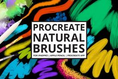 25 Procreate Natural Media Brushes by PicByKate - For use on iPad Pro with Apple Pencil (and iOS app ProCreate)