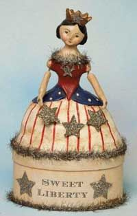 'Sweet Liberty' - Americana figurine (July of July, Independence Day, decor) Patriotic Crafts, Patriotic Decorations, Holiday Decorations, I Love America, God Bless America, American Pride, American Girl, American History, American Flag