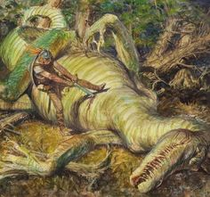 """Darrell Sweet, """"The Slaying of Glaurung,"""" The J. R. R. Tolkien Calendar preliminary illustration, 1982"""