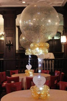 Gold Sparkle Balloon Centerpiece Gold Sparkle Balloon Centerpiece with lights and custom cutout for Rehearsal Dinner Lighted Centerpieces, Quinceanera Centerpieces, Birthday Party Centerpieces, Centerpiece Decorations, Balloon Decorations, Wedding Centerpieces, Balloon Ideas, Masquerade Centerpieces, Tips