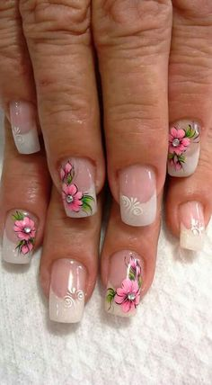 UÑAS Beautiful Nail Designs, Cute Nail Designs, Beautiful Nail Art, Silver Nail Designs, Nail Polish Designs, Spring Nails, Summer Nails, 3d Flower Nails, Glitter Nail Art