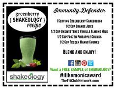 GREENBERRY SHAKEOLOGY RECIPE: Immunity Defender by TheFitClubNetwork.com | Request a FREE Shakeology sample: http://www.thefitclubnetwork.com/shakeology/free-shakeology-sample/