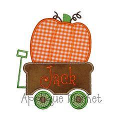 Machine Embroidery Design Applique Pumpkin Wagon 2 INSTANT DOWNLOAD on Etsy, $4.00