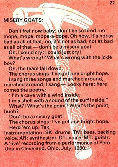 Pere Ubu lyric, from C81 Owner's Manual.