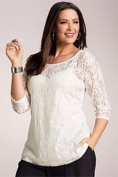 Plus Size Short Sleeve Lace and Crochet Peasant Top | Plus Size ...