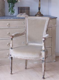 This chair in Velvet Sage has such a sumptuous traditional feel to it.