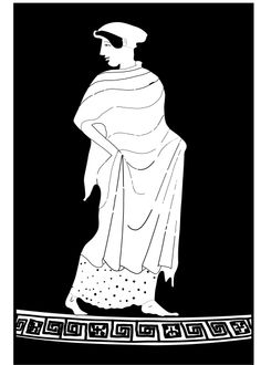 Sappho_Attic kalyx-krater attributed to the Tithonos Painter, first third of the fifth century. Line drawing by Valerie Woelfel