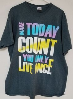 You Only Live Once Gray Graphic TShirt XL Mens, Make today count   Ships Free #Gildan #GraphicTee