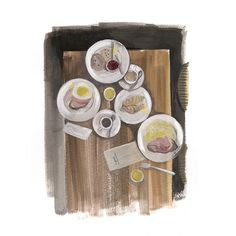 Happy breakfast table #breakfast #lifestyle-illustration #kitchen-scenes #dalit-Pessach