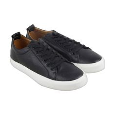 Steve Madden M-Ingle Mens Black Leather Lace Up Sneakers Shoes