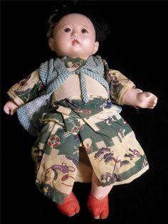 Japan Japanese Ichimatsu Gofun Doll Silk Clothing Glass Eyes RARE Male Doll | eBay