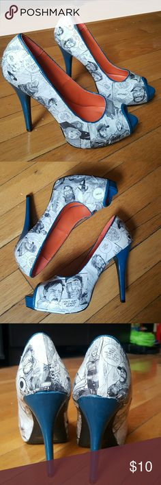 Walking Dead comic book peep toe heels Peep-toe platform heels, that have been covered with Walking Dead comic book panels, by hand. They have blue/teal platforms and heels. These were a gift from my in-laws, I believe they were purchased from Etsy.   Awesome for any comic book need, or Walking Dead fan! Size says 8.5, but due to the shellac on the outside, they don't stretch at all, so they would be better suited for a size 8. Unfortunately they don't fit me. Qupid Shoes Heels