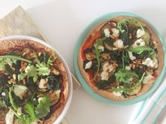 I Love Health | Tortizza met aubergine, spinazie en geitenkaas || gezonde pizza | http://www.ilovehealth.nl