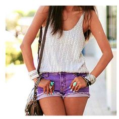 lavender shorts and creme sparkly top