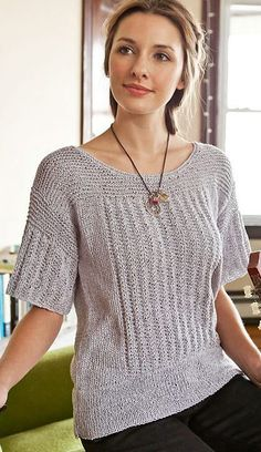 Free knitting pattern for easy Pern Tee Top - Norah Gaughan's easy short sleeved pullover sweater re-interprets the traditional fisherman's gansey with easy slipped stitch rib, garter details, and a generous hem. XS, S, M, L, 1X, 2X