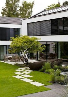 Modern Landscape Design, Modern Garden Design, Backyard Garden Design, Modern Landscaping, Front Yard Landscaping, Contemporary Landscape, Landscaping Ideas, Modern Design, Pergola Ideas