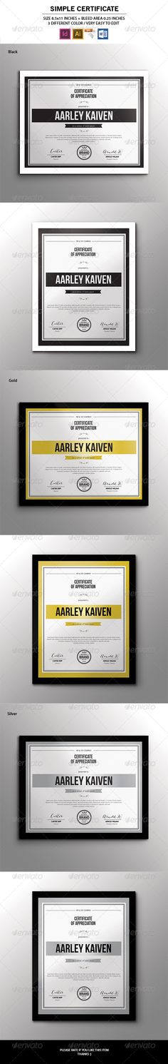 Simple Multipurpose Certificates - Certificates Stationery « GraphicRiver.com