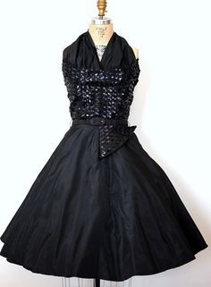 Midnight sparkle beautiful black sequined winged bust 1950's cocktail party dress with matching belt. No maker label.