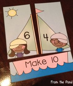 Addition - Sail Along - Printable Math Card Game / Center Kindergarten Math Worksheets, Preschool Learning Activities, Kids Learning, Learning Stations, Math Addition, Addition And Subtraction, Daily 3 Math, Math Card Games, Eyfs Classroom