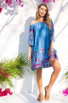 Mai Tai Calypso Sky Blue Dress Embroidered Off the Shoulder Trumpet Sleeve – Mombasa Rose