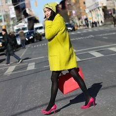 Pin for Later: 33 Ways to Create an Insanely Stylish Outfit With a Pair of Tights Contrast With Flashy Neon Separates