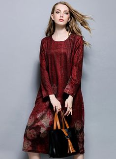 Polyester Solid Long Sleeve Mid-Calf Vintage Dresses (1955110710)