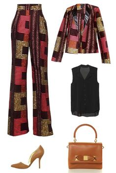 Pink Brown Suit. Add a black sleeveless button down blouse with matching shoes and purse to complete the outfit.