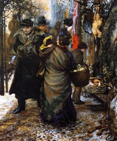 Market in Winter (Adolph von Menzel, 1862 - Painting  Gouache and colored chalk