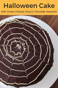 Three layers of super moist chocolate cake sandwiched with cream cheese icing and coated in a rich chocolate ganache, this really is THE ultimate Halloween cake recipe! via for Spice Chocolate Ganache Icing, Super Moist Chocolate Cake, Chocolate Truffles, Delicious Chocolate, Delicious Desserts, Chocolate Cheesecake, Chocolate Brownies, Chocolate Desserts, Chocolate Spiders