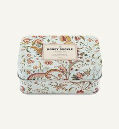 Honey suckle and green tea Soap, packaged in the prettiest tin.